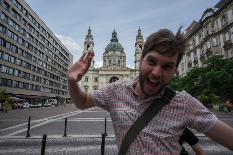 Jon photo bombing my pic of St. Stephen's Basilica